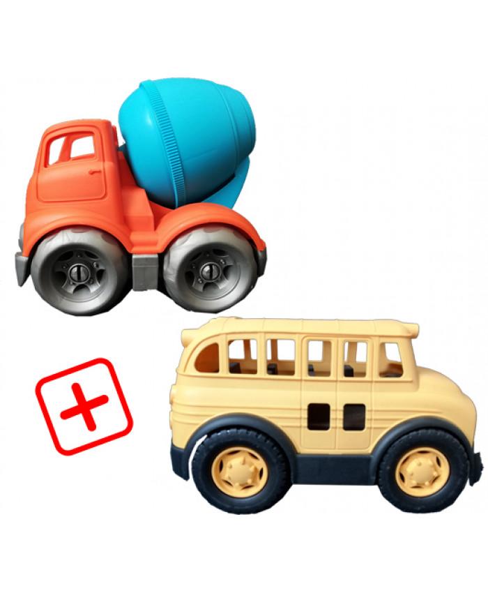 სპეც შეთავაზება: 2 სათამაშო მანქანა (ავტობუსი, ცემენტის შემრევი)
