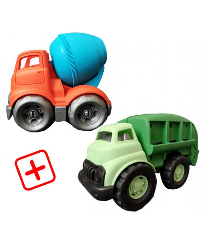 სპეც შეთავაზება: 2 სათამაშო მანქანა (ნაგვის გადამტანი, ცემენტის შემრევი)