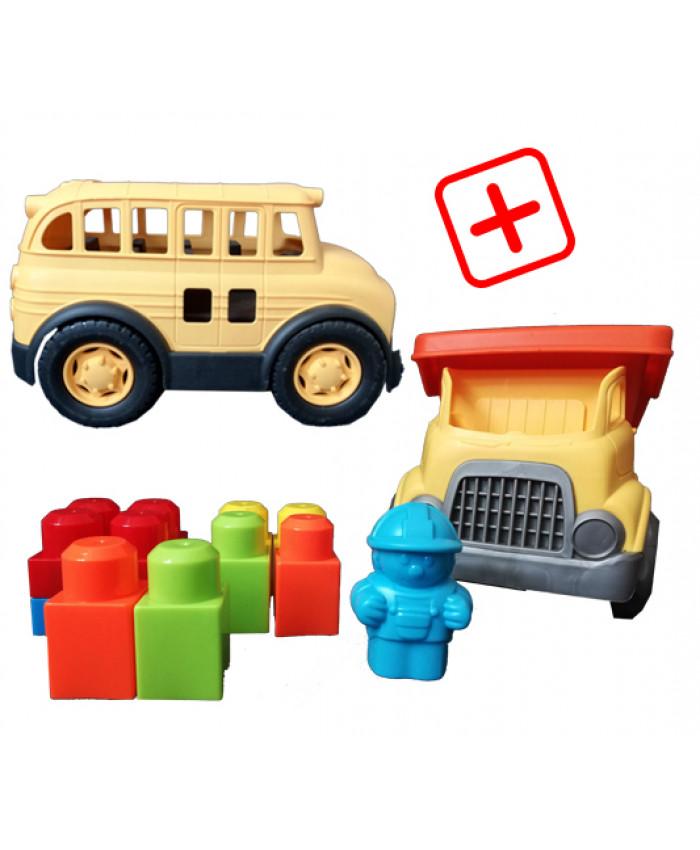 სპეც შეთავაზება: 2 სათამაშო მანქანა (სატვირთო, ავტობუსი)