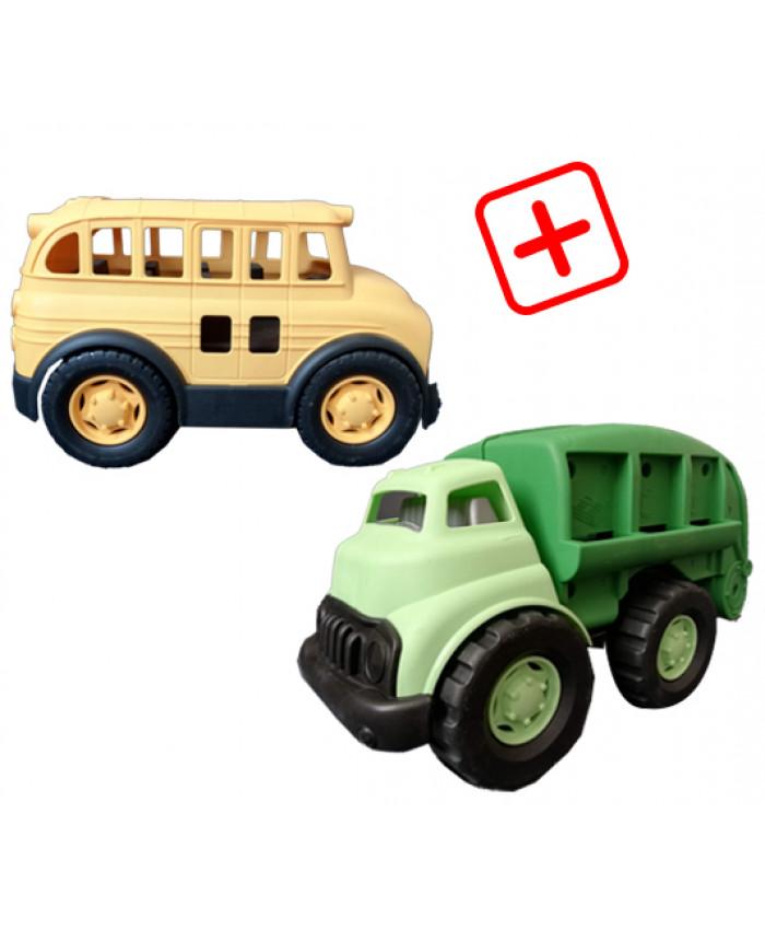 სპეც შეთავაზება: 2 სათამაშო მანქანა (ნაგვის გადამტანი, ავტობუსი)
