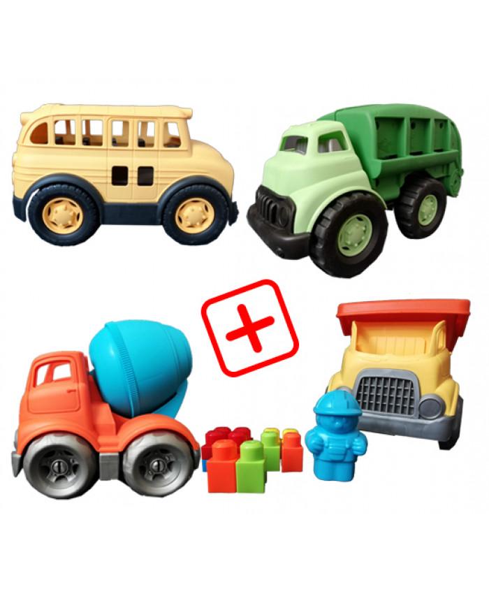 სპეც შეთავაზება: 4 სათამაშო მანქანა (სატვირთო, ნაგვის გადამტანი, ავტობუსი, ცემენტის შემრევი)