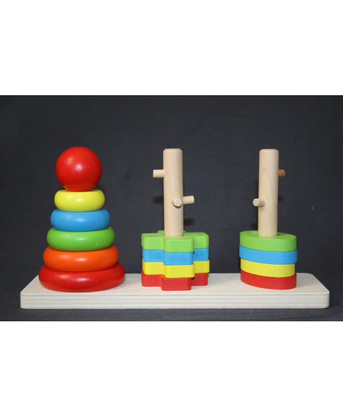 სათამაშო ასაწყობი კოშკი ბავშვის განვითარებისთვის Rainbow three column tower