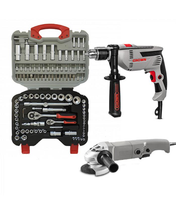 ხელსაწყოების ნაკრები 108ც WINOR (გერმანია) +დრელი და ბარგალკა CROWN (შვეიცარია)