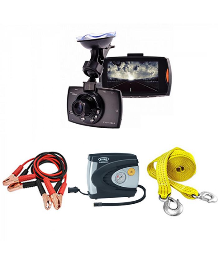 ვიდეო რეგისტრატორი Camcorder (უკანა ხედვის კამერით) + კომპრესორი, საბოქსირე თოკი და კლემების გადამყვანი საჩუქრად!