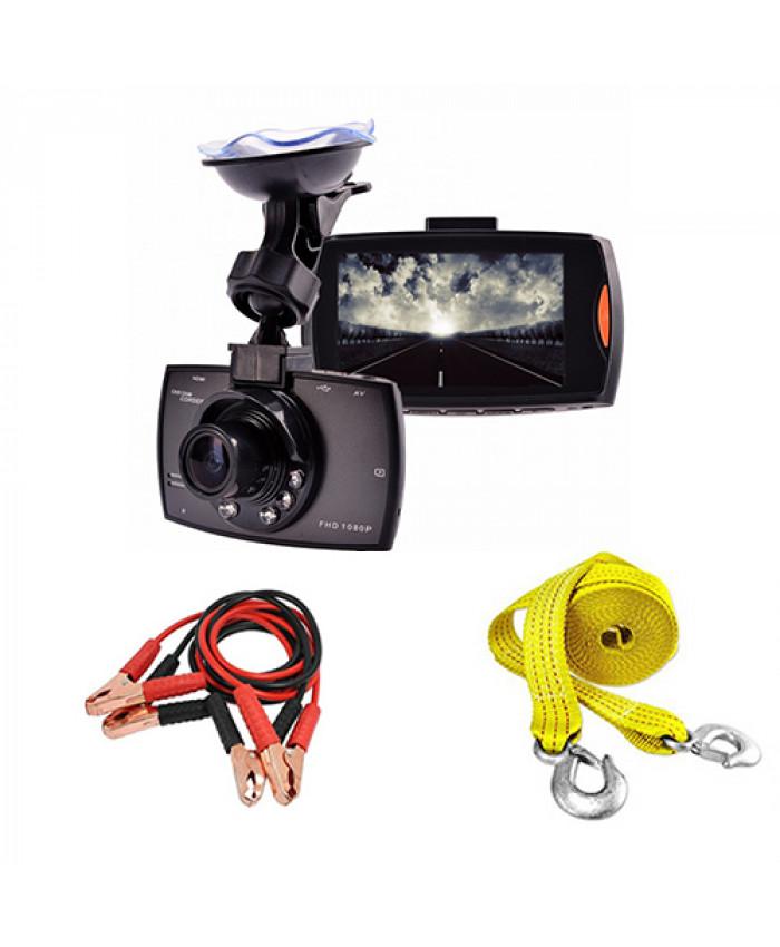 აქცია: ვიდეო რეგისტრატორი Camcorder (უკანა ხედვის კამერით) + საბუქსირე თოკი და კლემების გადამყვანი საჩუქრად!