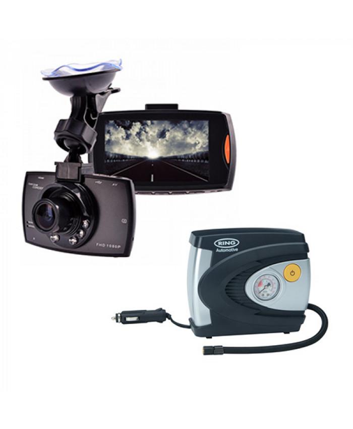 ვიდეო რეგისტრატორი Camcorder (უკანა ხედვის კამერით) + კომპრესორი სპეც ფასად!