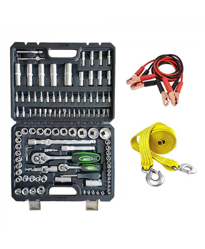 ხელსაწყოების ნაკრები KING STD 108ც + საბუქსირე თოკი და კლემების გადამყვანი საჩუქრად!