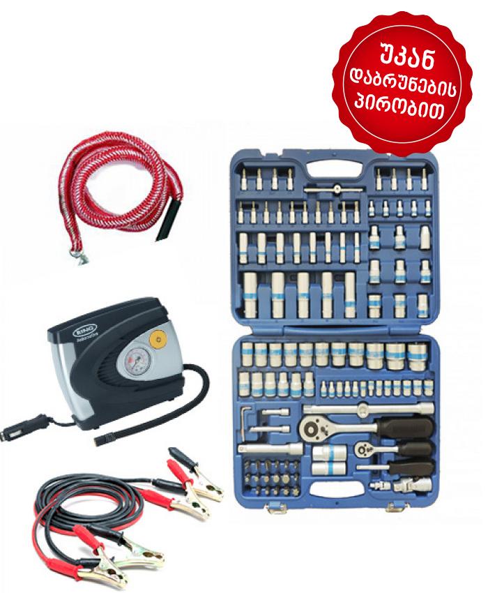 ხელსაწყოების ნაკრები King Roy 108ც + კლემების გადამყვანი, კომპრესორი, საბუქრირე თოკი!