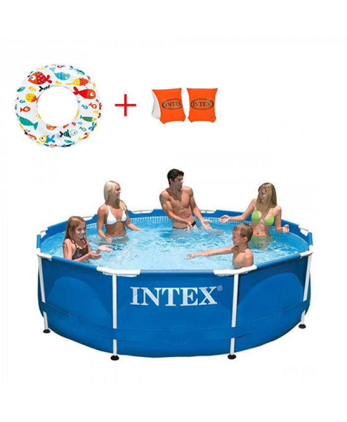 აუზი კარკასული INTEX 305X76 + კამერა და საცურაო სამკლაური საჩუქრად